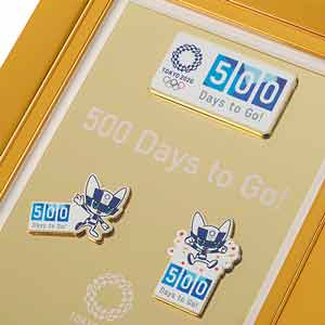 500 Days to Go! 額装ピンバッジセット(東京2020オリンピックマスコット)