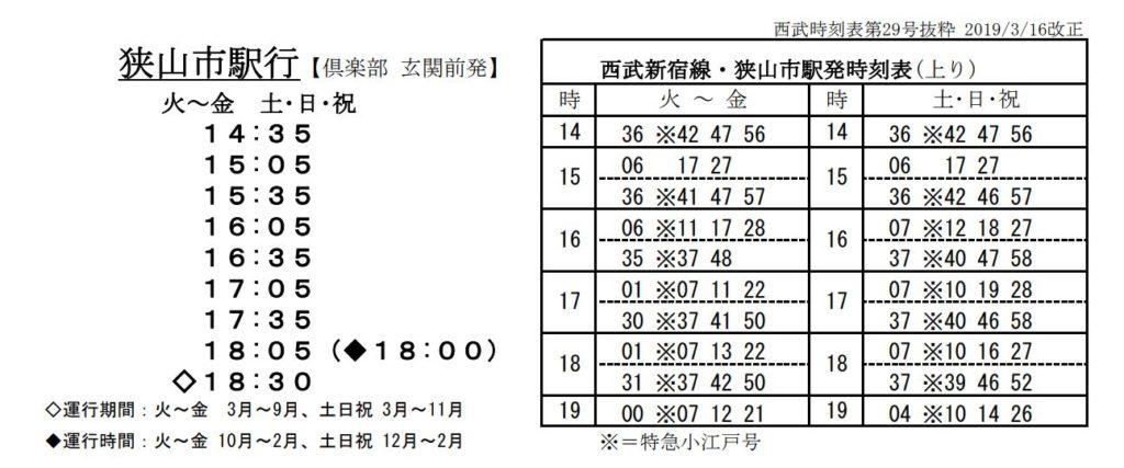 霞ヶ関カンツリー倶楽バス時刻表
