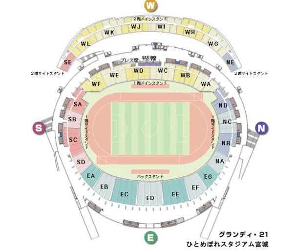 宮城スタジアム(ひとめぼれスタジアム)の座席数や収容人数(キャバ)