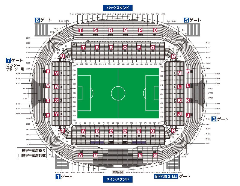 茨城カシマ スタジアム(鹿島スタジアム)の座席数や収容人数(キャバ)